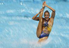 Csobbanás A spanyol szinkronúszó csapat egyik tagja a szabadprogram döntőjében a vizes világbajnokságon, Kazanyban.