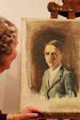 Önarckép,... a művész özvegyével. Nagy Béla ( 1923.-2009.) festőművész emlékkiállításának megnyitó ünnepségén.  Cegléd. 2015. október.26.