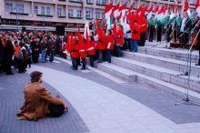 A fotós Egy ünnepi eseményen a fótós különleges pozicióban.