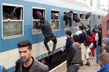 Ugrás  Migránsok ugranak ki egy vonat kocsi ablakain 2015 év szeptemberében a hegyeshalmi vonat állomáson, miután nem tudták az ajtókat kinyitni és megijedtek hogy fent maradnak.