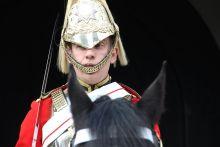 Királyi lovastestőr A turisták legnagyobb örömére Londonban még mindig őrt állnak a brit királyi testőrség lovasai.
