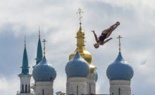 Torony, ugrás Az amerikai Cesilie Carlton egyik kísérlete a női óriástoronyugrás döntőjében a kazanyi világbajnokságon