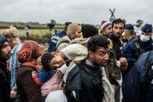 Várakozás Menekültek tömege vár arra, hogy rovábbmehessenek Röszkéről Budapestre, majd Nyugatra, mielőtt a hatóságok lezárták a szerbiai határt.
