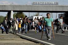 Hegyeshalom - határzóna  Szeptember 6 és október 7 között naponta többezer menekült hagyta el Magyarországot a Hegyeshalmi határátkelőnél. A hegyeshalmi határátkelőn a magyar és szlovák segélyszervezetek, magánszemélyek osztották az élelmet a menekülteknek